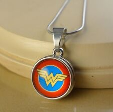 WONDER WOMAN simple SNAP BUTTON CHARM PENDANT W/ Steel NECKLACE gifts for women