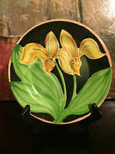 """1 Amen Wardy Home Studio Pottery Signed AWP Flower Luncheon Salad Plate NEW 9.5"""""""