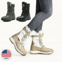 Women's Insulated Waterproof Winter Snow Boots Faux Fur Lined Mid Calf