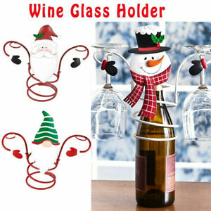 Christmas Wine Bottle & Glass Holders Wall Mounted White Wine Rack Champagne