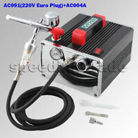 OPHIR 220V 0.3MM Airbrush Kit & Mini Air Compressor for  Nail Art Model Tattoo
