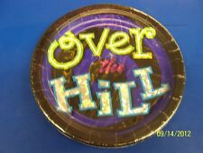 "Oh No! You're Over the Hill Black Adult Birthday Party 9"" Paper Dinner Plates"