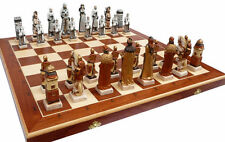 Schach, Schachspiel GRUNWALD Handbemalt Schachbrett 60 x 60 cm KH 135 mm Marmor