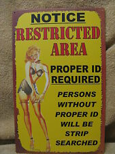 Restricted Area Tin Metal Sign FUNNY HUMOROUS Pool