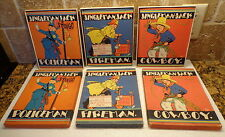 1929 Children Book & BOX Lot 3 JINGLEMAN JACK POLICEMAN FIREMAN COWBOY Saalfield