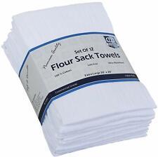 Flour Sack Kitchen Towels (White,12 Pack) 100% Cotton,28x28 Inch Cloth Napkin,