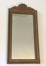 "Antique Vintage Reverse Etched Mirror Gold Gilt Gesso Wood Frame 23"" x 11.5"""