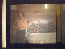 ancienne photo plaque verre stereo Autochrome  femme jardinniere