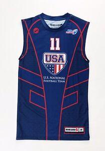 Seige USA National Football Team Tight Tank Shirt Men's Medium #11 Navy Blue