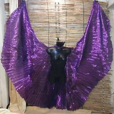 Egyptian Belly Dance Isis Wings handmade Dancing Purple Lame Fabric Carry Bag