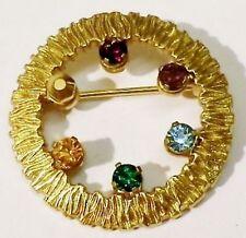 broche bijou petite taille couronne gravé cristaux de couleur or * 5132