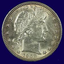 Barber Silver Quarter Dollar,1908 D Choice BU MS PQ Lot # 9010-90-0006