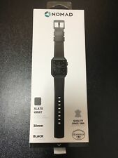 Nomad - Leather Watch Strap for Apple Watch 38mm - Slate gray with black hardwar