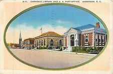 South Carolina, SC, Anderson, Carnegie Library & US Post Office Linen Postcard