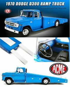 1970 DODGE D-300 RAMP TRUCK CORPORATE BLUE 1:18 SCALE BY ACME