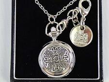 Ladies Pendant & Bag Watch Pewter Celtic Knot  2 Chains Engraveable Disc  Boxed