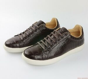 Men Shoes Genuine Crocodile Alligator Belly Skin Leather Sneakers Size 7-11US