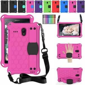 "For Samsung Galaxy Tab A E 4 8"" T387 T377 T385 Kids EVA Case Cover w Hand Strap"