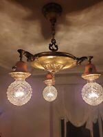 Vintage Art Deco Pan Ceiling Fixture Antique Brass 3 Light Chandelier 2 tone