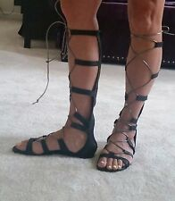 Gianetti Gladiator knee hi sandals lace up Black/silver Leather ITALY sz 8.5 7.5