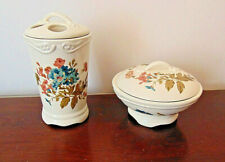 Vtg Chaps Toothbrush / Cup Holder & Ring lidded dish Floral & White