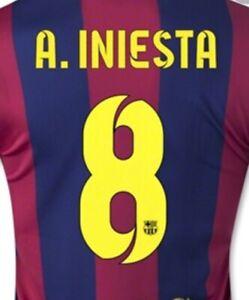 Barcelona FC INIESTA #8 Name And Number Sets 2014  Vinyl Heat Transfer