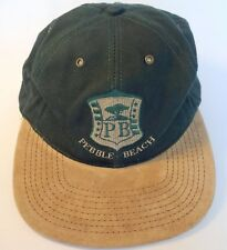 Pebble Beach Golf Course Logo Cap Green with Tan Suede Bill Strapback One Size