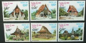 LAOS 1988 Buildings and Architecture: Pagodas. Set of 6. MNH. SG565/570.