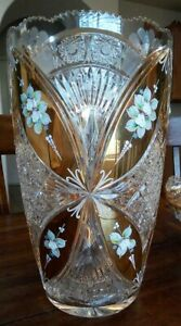 Vintage Czech Bohemia Crystal Vase with Gold Accents and Painted Flowers