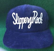 Vtg Slippery Rock University Baseball Hat Vintage Blue Corduroy Snapback PA