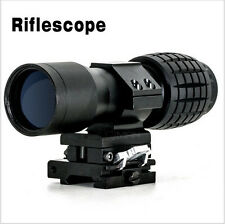 Tactical 5x Magnifier Scope + Flip to Side Mount 20mmm Portable Gun Rifle Scope