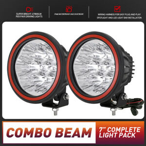 Osram 7inch LED Driving Lights Pair Round Spot Offroad 4x4 Work SUV Spotlight