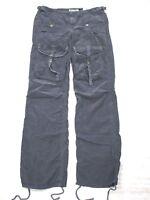 NEW Da-Nang Women's Casual Pants Cargo Ankle Drawstring BLACK BCG599 SMALL S