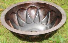 Copper Round Bathroom Sink  Dark SUN Design 16¨x 6¨ Handmade hammered