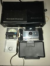 Early 1960's POLAROID Automatic 100 Land Camera w/ Case, Flash, acc.