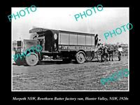 OLD LARGE HISTORICAL PHOTO OF MORPETH NSW, BOWTHORN BUTTER FACTORY VAN c1920