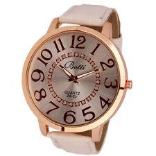 Ladies Fashion Botti Rose Gold Quartz Big Dial White Band Wrist Watch.