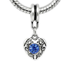 Blue Rhinestone March Birthstone Heart Dangle Bead for European Charm Bracelets
