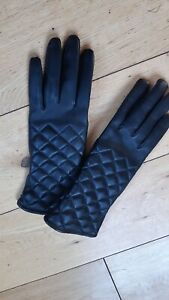 Ladies Fownes Black Leather Gloves Large - New