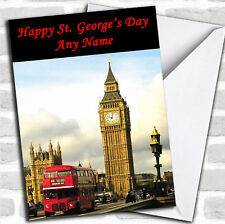 St George's Day Big Ben And London Bus Personalised Card