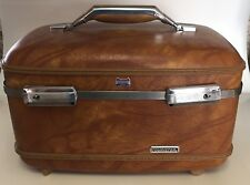 VTG American Tourister Train Case Carry On Luggage Suitcase Makeup Tan Brown