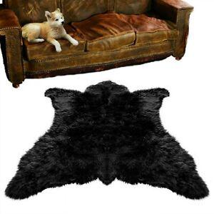 Plush Black Bear Skin Area Rug - Shaggy Faux Fur - Chubby Bear - Life size