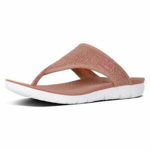 FitFlop Women's Sandal Nude Dusty Pink Coral Uberknit Thong Metallic Sz 6-11 NIB