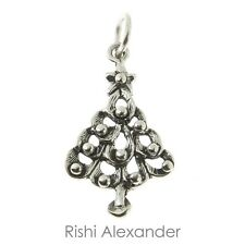925 Sterling Silver Christmas Tree Flat Charm Made in USA