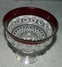 Vintage EAPG King's Crown Ruby Red Stained Glass Thumbprint Footed Bowl