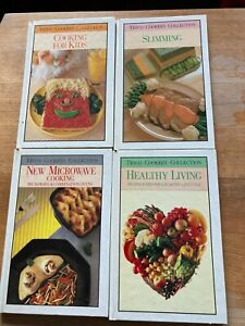 FOUR TESCO COOKERY BOOKS - MICROWAVE, SLIMMING, HEALTHY LIVING, COOKING FOR KIDS