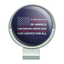USA Flag Pledge of Allegiance America Golf Hat Clip With Magnetic Ball Marker