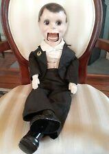 Antique Composition Charlie McCarthy Ventriloquist Dummy Doll, Effanbee Pinback