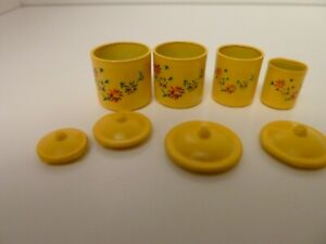 Dolls House Kitchen Accessory Miniature 1:12th Scale 4 Yellow Canisters w Lids