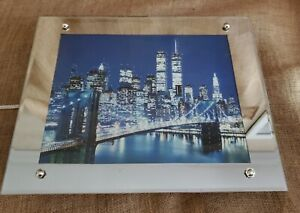"""Magical Cityscapes New York City Fiber Optic Mirrored Wall Art Man Cave 16""""x13"""""""